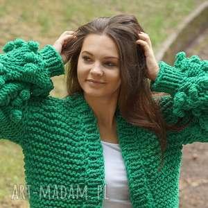 swetry grassy green bomber, sweter, kardigan, bomberka, dziergany, masywny
