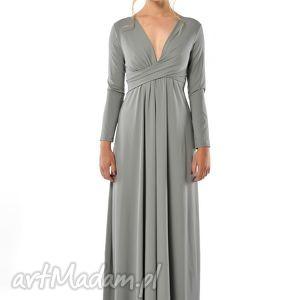 sukienki magdalena patria grey- szara sukienka maxi, suknia, wieczoowa