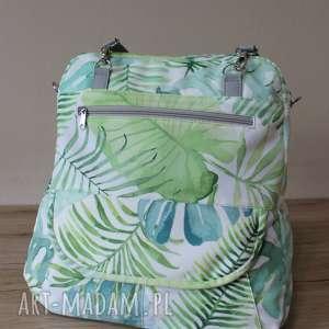 plecak torba listonoszka - tropikalne liście, elegancka, nowoczesna, pakowna