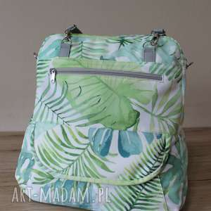 handmade plecak torba listonoszka - tropikalne liście