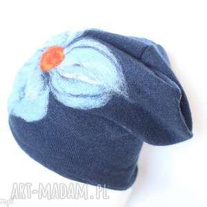 czapka wełniana filcowana granatowa na podszewce, welna, czapka, kwiaty, wool, boho
