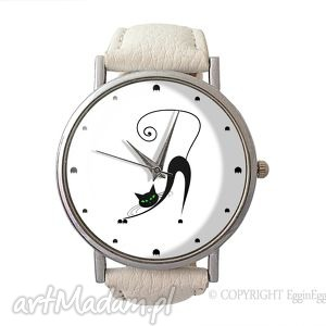 zakręcony kot - skórzany zegarek z dużą, prezent