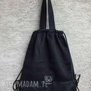 torebki torba plecak konopny, konopia, len, ekologiczna, plecak, wegańka, czarna