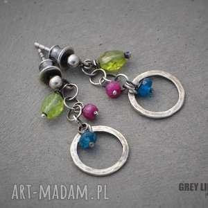 Małe kolorowe., srebro, apatyt, rubin, peridot, wkrętki
