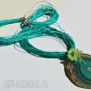 naszyjniki naszyjnik z zielonym agatem, agat, jadeit, kryształki
