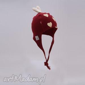 czapka pilotka wiązana - bordowa w kremowe serca, prezent, wiosna, jesień, zima