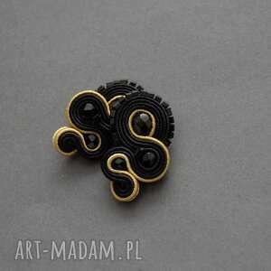 czarno-złote klipsy sutasz, sznurek, delikatne, wieczorowe, koraliki, eleganckie