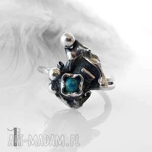 miechunka turkusowy skrzat srebrny pierścionek z turkusem regulowany