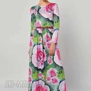 suknia - botanical garden, długa, jersey, róże, sukienki, pod choinkę prezent