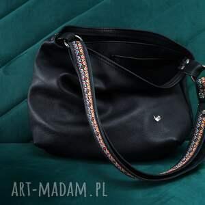 katarzyna dwa paski czarna skóra naturalna torba na ramię, boho torba, wymienne