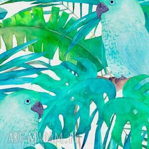 OTULACZ BAMBUSOWY Papugi Zielone 120x100, bambus, bambusowy, otulacz, kocyk, letni