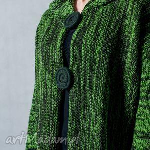 zielony melanżowy rozpinany sweter z kapturem - arthermina, sweter, melanż