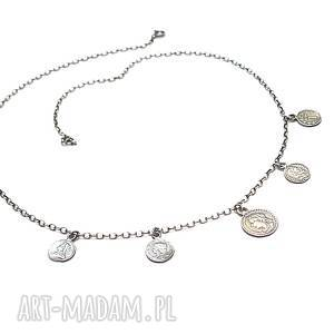 numizmaty choker vol. 2 - naszyjnik, srebro oksydowane, monety łańcuszek