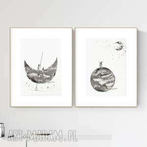 Zestaw 2 grafik a4 wykonanych ręcznie, grafika czarno-biała