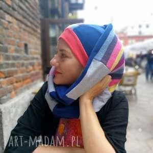 hand made czapki komplet zimowy damski boho