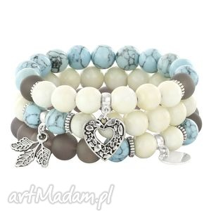light blue,ivory gray set with pendants - howlit, agat, jadeit, serce bi 380 uteria