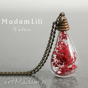 życie jest piękne ii naszyjnik z prawdziwym kwiatem - czerwień