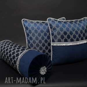 poduszki dekoracyjne komplet 3 poduszek granat barok, poduszek, zestaw