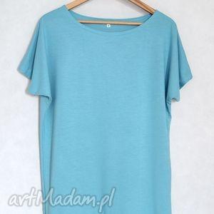 gładka koszulka l/xl oversize błękitna, bluzka, koszulka, t shirt, kimonowa