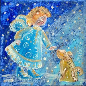 aniołek z kotką, aniołek, kotka, przyjazń, płótno, dziecko, 4mara obrazy