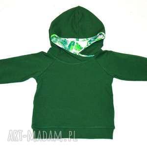 LIŚCIE zielona Bluza dla chłopca, bawełniana bluza z kapturem, rozmiary 74, 86, 92