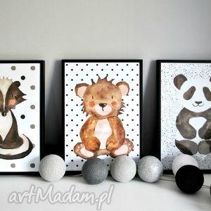 3 plakaty / zwierzaki i kropki A3, miś, kropki, jelonek, zwierzaki, skandynawski