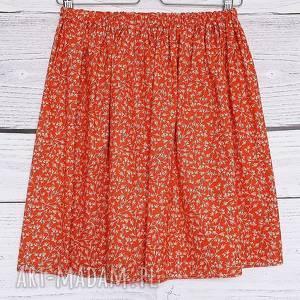 Spódniczka w listki i głązki,pomarańczowa bawełna, bawełniana-spódnica, na-lato