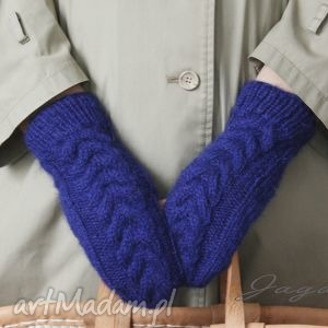 rękawiczki szafirowe - rękawiczki, kciuk, wełna, moher