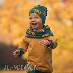 bluza dla dziecka z komino-kapturem rysie, kominem