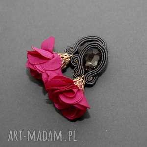 klipsy sutasz z kwiatkiem, sznurek, eleganckie, wiszące, fuksja, małe, kwiat