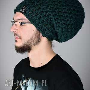 czapka dreadlove mono 17 - butelkowa zieleń, dread, dready, dredy, dreadloki