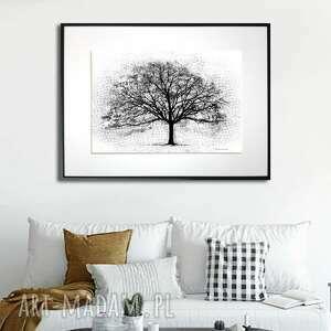 grafika w ramie czarne drzewo 40x30, czarno białe, drzewo, prezent, biało