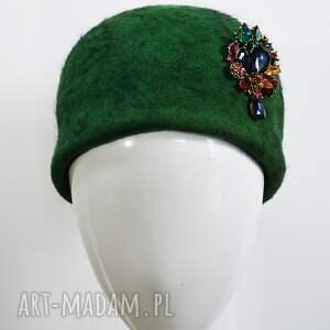 zielona jackie, kapelusz, czapka, zieleń, filc