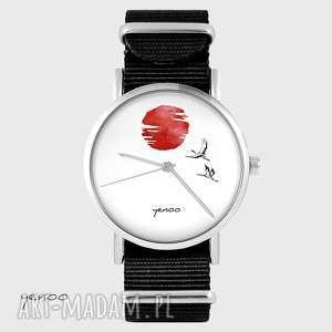 hand made zegarki zegarek - japońskie żurawie 2 czarny, nato