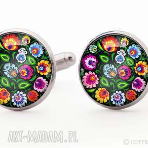Ludowe kwiaty - Spinki do mankietów, spinki, ludowe, kwiatowe, folk