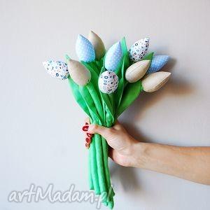 dekoracje bukiet bawełnianych tulipanów, tulipany, bawełniane, kwiaty, tulipany z
