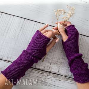 Mitenki fioletowe, rękawiczki, wełna, wełniane