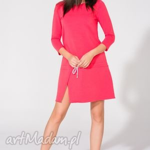 sukienka dresowa, t150, koralowa - sukienka, dresowa, luźna, rozcięcie
