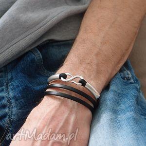 Bransoletka Infinity, skóra, rzemienie, cyna