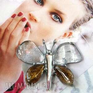 wisiorek motyl kryształowo - miodowo, cytryn, kryształ górski, motyl, z kamieni