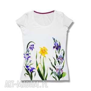 bluzki unikatowa ręcznie malowana koszulka -bluzka - kwiaty, shirt, modny