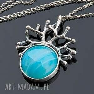 levente blue - naszyjnik srebrny a430 - naszyjnik, wisior, srebrny, agat, kamień