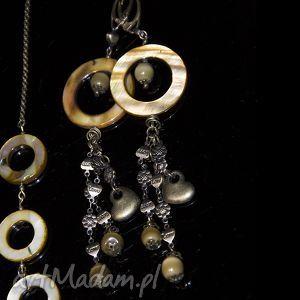 kolczyki z masy perłowej, mosiądz, masa, elegancja, antyczne