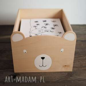 ręcznie wykonane pokoik dziecka rezerwacja - miś drewniany pojemnik na kartki