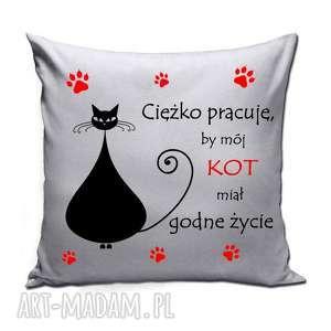 Poduszka - ciężko pracuję, by mój kot poduszki ms pinflow