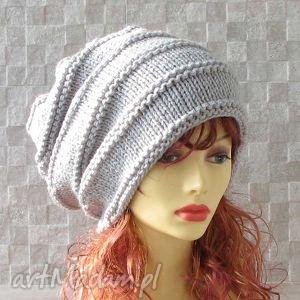 oversize - beanie czapka zimowa kolor light grey dredy, czapka, oversized