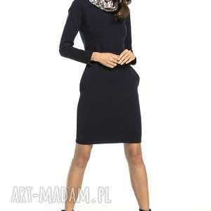 sukienka dresowa z kominem wzorzystymi dodatkami, t295, granat / wzór łowicki
