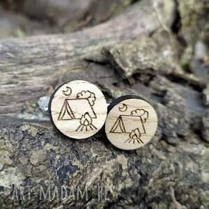 spinki do mankietów drewniane namiot, kemping