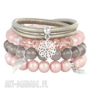 lavoga satin gray & light pink set - rzemień, szkło, kwiatek