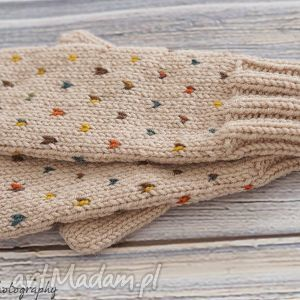 Jednopalczaste rękawiczki, jednopalczaste, dziergane, wełna, wełniane